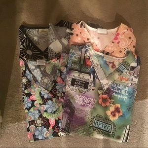 "BUNDLE OF ""5"" SCRUB TOPS- SIZE EXTRA SMALL"